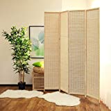 JOSTYLE Room Divider with Natural Bamboo,4-Panel Folding Privacy Screen Room Divider-Beige