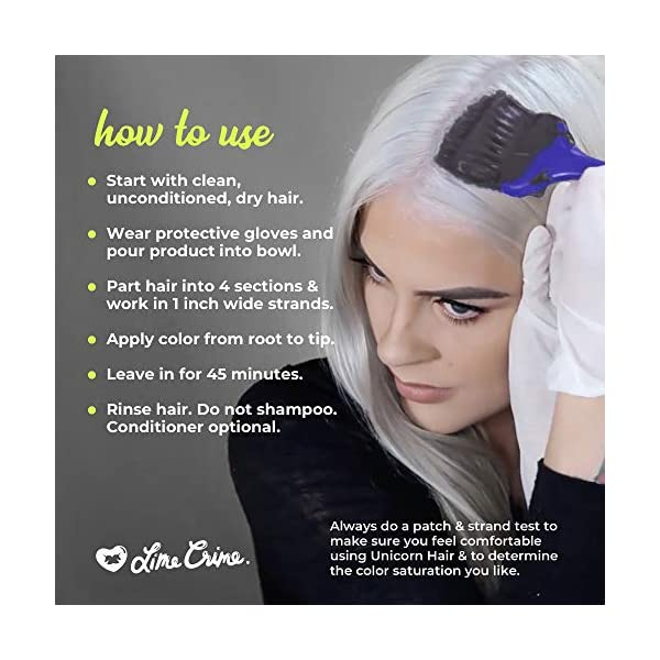 Lime Crime Unicorn Hair Tint, Gargoyle - Deep Stone Grey Fantasy Hair Color - Ultra-Conditioning, Semi-Permanent, Damage… 7