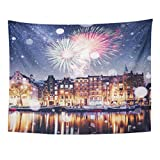 Tapices decorativos Tapestry Wall Hanging Beautiful Night in Amsterdam Illumination of Buildings and Boats Near The Water 60'x 80' Home Decor Art Tapestries for Bedroom Living Room Dorm Apartment