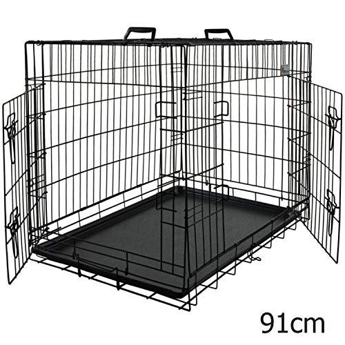 MSmask 91cm HundeKäfig mit 2 Türen, faltbar Tierkäfig, TransportKäfig Gitterbox DrahtKäfig für große Hunde Katzen Hasen Nager Kaninchen Geflügel Gitterbox Hundebox Hundetransportbox Transportbox