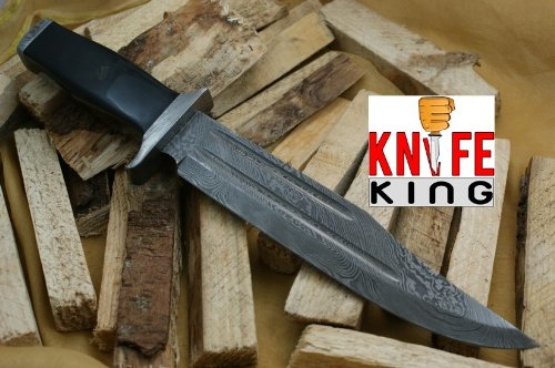 "Knife King ""SSG-1"" Damascus Handmade Hunting/Bowie Knife. Comes with a Sheath."