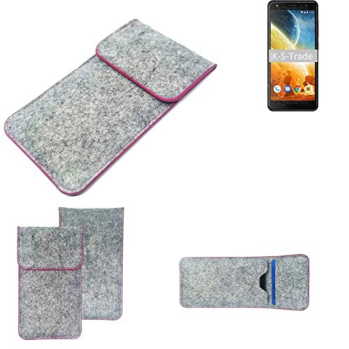 K-S-Trade Handy Schutz Hülle Für Energizer Power Max P490S Schutzhülle Handyhülle Filztasche Pouch Tasche Hülle Sleeve Filzhülle Hellgrau Pinker Rand