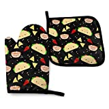 FHTDH Suministros de Cocina, Guantes de Horno y Juegos de ollas Tuesday Party Oven Mitts and Pot Holders,Resistant Hot Pads with Polyester Non-Slip BBQ Gloves for Kitchen,Cooking,Baking,Grilling