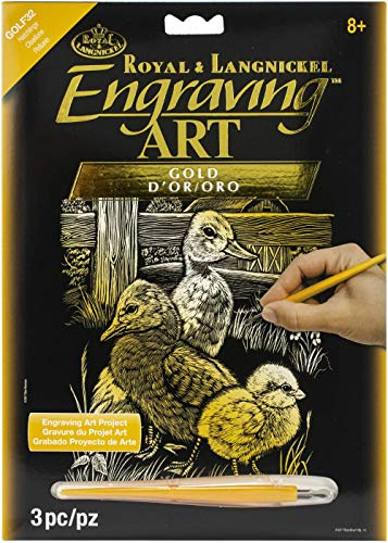 Royal and Langnickel Gold Foil Engraving Art Kit 8 inch x 10 inch - Hatchlings