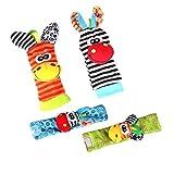 Snaro Infant Baby Weichem Plüsch 4 STÜCKE Tier Handgelenke Rassel und Fuß Sucher Socken Set Frühen Pädagogisches Spielzeug für Jungen und Mädchen