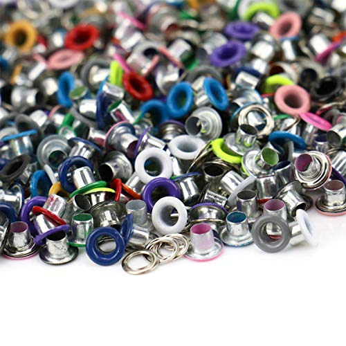 JETEHO 500Pcs Metal Eyelets, Mixed Colors 3mm Round Shape Eyelet Grommets for Scrapbooking Card Making Leather Craft Shoes Clothes
