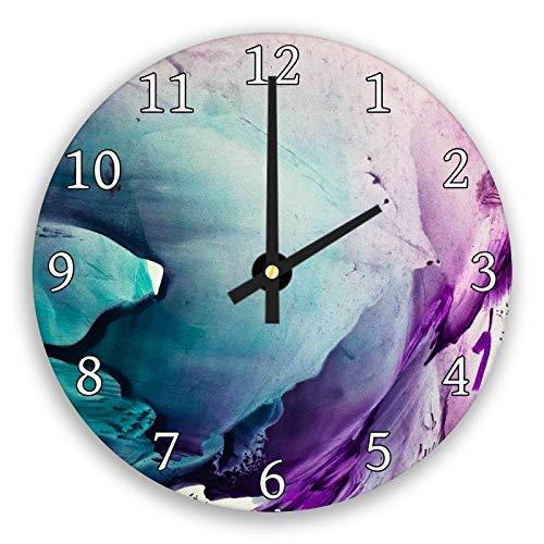 hiusan Purple Teal Black Green Modern Wood Wall Clocks Decorative Silent 12 in for Living Room Home Decor Wall Art