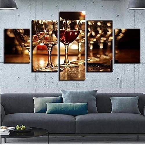 WKXZZS Cuadros Decoracion Salon Modernos 5 Piezas Tren de Vino Lienzo Grandes XXL murales,Pared Cuadros Decorativos Modulares para Sala de Estar Impresiones 200x100cm