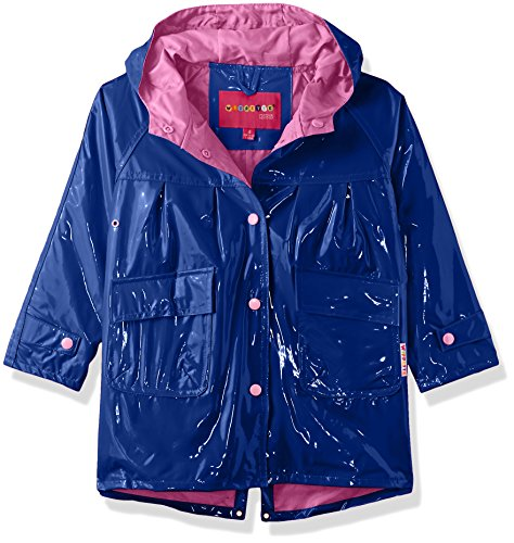 Wippette Toddler Solid Color Girls Raincoat, Navy, 3T