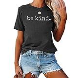 DREAMING-Camiseta Holgada Superior de Verano para Mujer, Camiseta Informal de Manga Corta con Cuello Redondo y Estampado de Letras L