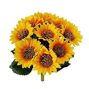 10pcs Artificial Sunflower Flower, Spring Summer Fake Yellow-Sunflower Plastic Sunflower Fabric Artificial Flowers for Wedding Decoration Bridal Bouquet DIY Handicrafts