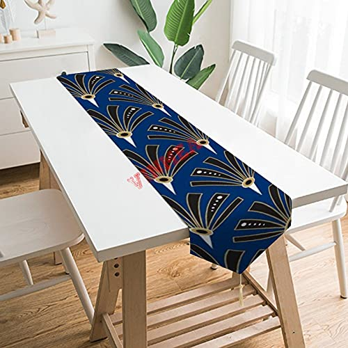 Camino de mesa bufandas, diseño de abanicos Art Deco en el camino de mesa azul real para el hogar, la cocina, la cena, la boda, los acontecimientos, la decoración de 13 x 70 pulgadas,