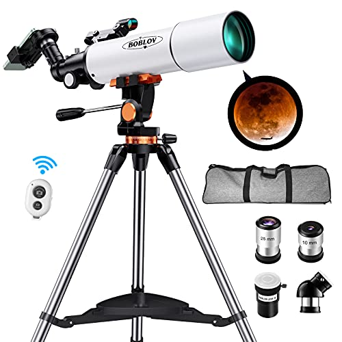 Telescope, Telescopes for Adults,80mm Aperture 500mm Focal Length,Astronomical Refractor Telescope, with Stainless Steel Adjustable Tripod, Viewfinder and Phote Adapter I Adults, Kids,Amateur