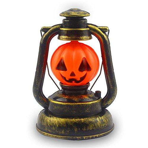 JMENG 3 Watt Halloween Deko Prop Kürbis Hexe Laterne Hand Schädel Lampe Tragbares Nachtlicht Ghosty Lachen Licht Enthält Keine Batterien. Festival Lichter (Farbe : Orang)