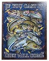 アメリカ雑貨 ブリキ看板 屋内用 ヴィンテージ風 レトロ風 アメリカン雑貨Fishing 釣り If You Cast It
