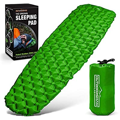Outdoorsman Lab Sleeping Pad for Camping - Patented Camp Mat, Ultralight - Best Compact Inflatable Air Mattress for Adults & Kids - Lightweight Hiking, Backpacking, Outdoor & Travel Gear