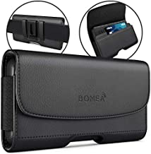 Bomea iPhone 8 6 6S iPhone 7 Leather Case Holster Belt Case with Clip/Loops Belt Pouch Holder for Apple iPhone 6 6S 7 8 Phone with a Slim Hard Case on - Built in ID Card Slot - Black