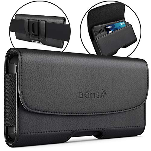 Bomea iPhone Xs Max Holster, iPhone 8 Plus 7 Plus Belt Clip Case, Premium Leather Holster Pouch Case with ID Card Holder for Apple iPhone Xs Max/6s Plus/7 Plus/8 Plus (Fit w/Phone Case on) Black