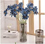 LebriTamFa 28' Artificial Daisy Flowers Bunches Fake Silk Gerbera Daisy Floral Bouquets Arrangements for Holiday Bridal Bouquet DIY Home Party Decor Bridesmaid (Blue, 3)
