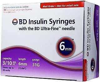 BD Ultra-Fine Insulin Syringes 31G 3/10cc 6mm 90/bx