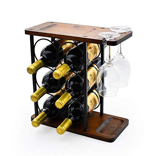 Z&HAO Estante para Vino De Madera, Estante para Vino De Pie, Estante para Vino De Encimera Rústico Estante para Vino De Metal Puede Contener 6 Botellas Y 2 Vasos, 37 X 24 X 6 Cm