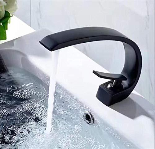 WANDOM Baño Lavabo creativo totalmente de bronce, largo, manija única, orificio único, lavabo de agua fría y caliente, grifo para lavabo, negro