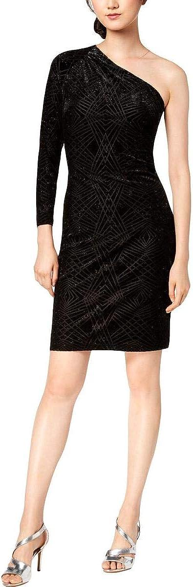 Calvin Klein Women's Velvet Long 1 year warranty Shoulder Award-winning store One Dress Sleeve