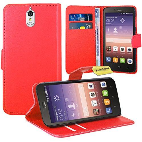 Huawei Y625 Handy Tasche, FoneExpert® Wallet Case Flip Cover Hüllen Etui Ledertasche Lederhülle Premium Schutzhülle für LG Huawei Y625 (Rot)
