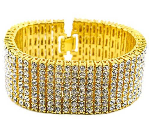 XIRENZHANG Pulsera Hip Hop 8 Drain Diamond para hombre, pulsera extragrande dorada