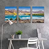 HOMEDD Modern Decorative Painting Sticker,Landscape Still Calm Lake and Mountain Landscape with Rock and Sky Dream Life Print,Easy Care Oil Painting 3 Panels,24x47inchx3pcs Blue Green Grey