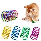 AMACOAM Juguetes para Gatos Juguete Colorido del Gato Primavera Muelles en Espiral de Plástico para Gato Muelle Colorido Juguete para Gato Interactivos Duraderos para Gato Gatito Mascotas