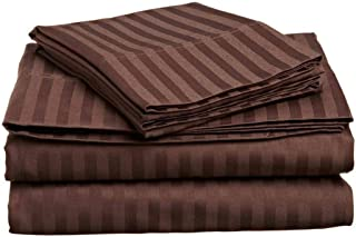 6 PCs Sheet Set Cotton King, 100% Egyptian Cotton, 400 Thread Count, 18 Inch Deep Pocket of Cotton Sheets, Chocolate Stripe