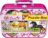 Schmidt Spiele 55588 - Caballos, puzzle-box 2 x 26 2 x 48 piezas en una caja metálica , color/modelo surtido