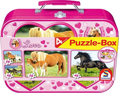 Schmidt Spiele 55588 Pferde, 4 Kinderpuzzle im Metallkoffer, 2x26 und 2x48 Teile