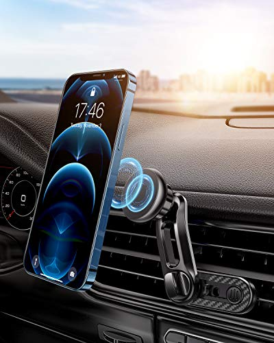 Magnetic Phone Car Mount, RTAKO Universal Air Vent Magnetic Phone Car Mount Phone Holder, for Cell Phones and Mini Tablets with Fast Swift-Snap Technology, with 6 Strong Magnets and 2 Metal Plates