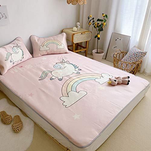 CPPI-1 Summer Mat Baby Mattress, Summer Folding Sleeping Mat, Pink Strawberry Pony Rainbow, Children's Nap Mat, Children's Ice Silk Mat, Available for 0-5 Years Old,