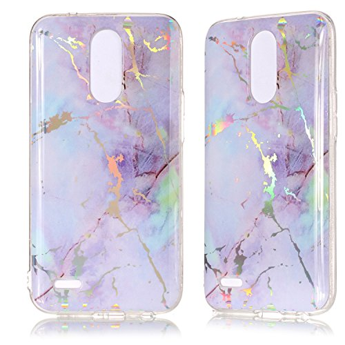DAMONDY LG K20 V Case,LG K20 Plus,LG Harmony,LG K10 2017,3D Shiny Marble Glitter Ultra Thin Slim Back Skin Full Body Protective Soft TPU Rubber Bumper Case Phone Cover for LG K20 V-Pink Purple