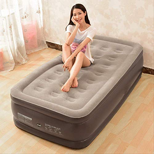 GuoEY Never-Leak Queen Air Mattress with Built in Pump Raised Air Mattress Queen Size - Best Choice Raised Inflatable Bed - Built-in High Capacity Airbed Pump,Single