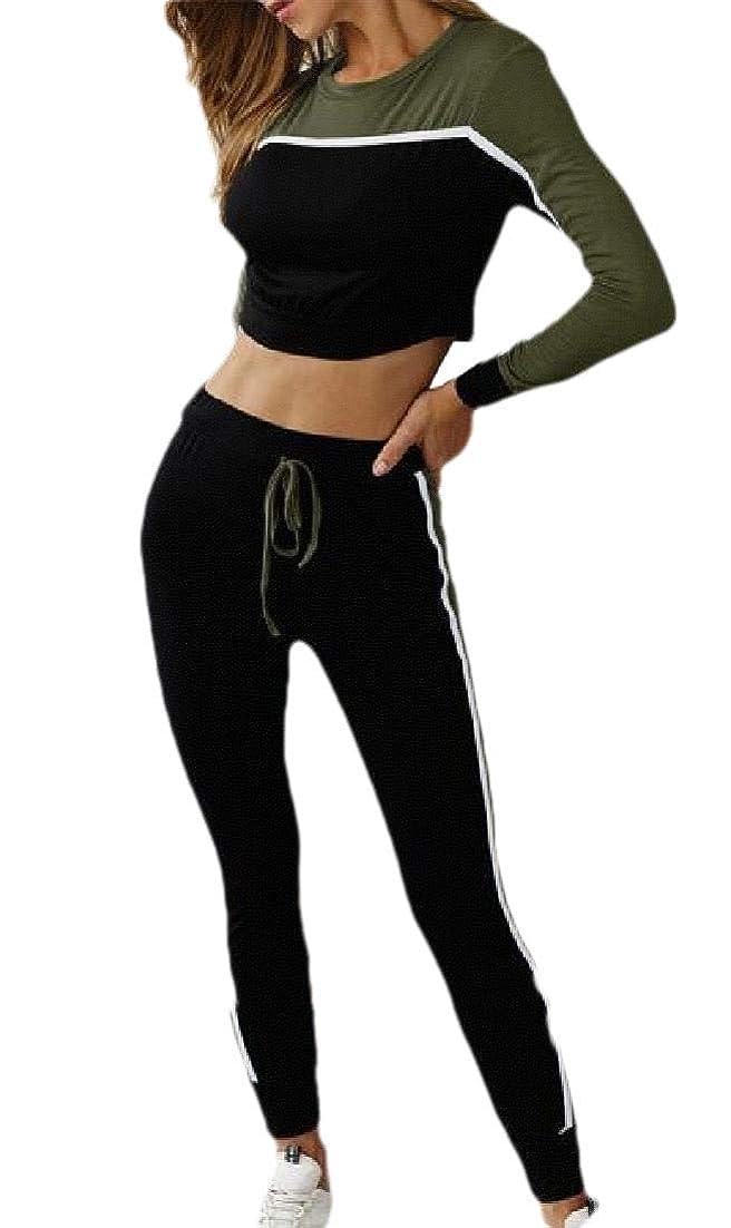 階下佐賀行為Women Long Sleeve Crop Top and Long Pants 2 Piece Outfits Tracksuit