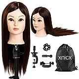 xnicx 85% Cheveux Brun Long Naturel Tête À Coiffer Coiffure Femme...