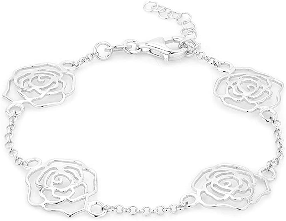 Vanbelle Sterling Silver Max 73% A surprise price is realized OFF Jewelry Bracelet Rhodi Multi-Roses with