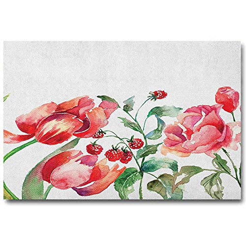 ScottDecor Watercolor Wall Paintings Grunge Inspired Botanical Arrangement of Fruits and Flowers Ecology 2020 Rose Red Jade Green L16 x H24 Inch