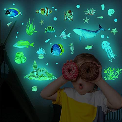 95sCloud Wandsticker Unterwasserwelt/Fische/Ozean selbstklebend Leuchtsticker Wandtattoo,PVC Sticker für deinen Sternenhimmel und fluoreszierend Leuchtaufkleber für Kinderzimmer
