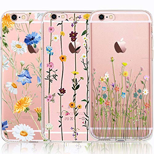 iPhone 6/6S Plus Case, iPhone 6/6S Plus Case with Flowers, [3-Pack] CarterLily Watercolor Flowers Floral Pattern Soft Clear Flexible TPU Back Case for iPhone 6 Plus 6S Plus 5.5'' (Cute Wildflower)