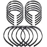 JZZJ Diadema de Plástico Banda de Pelo Bucle de Pelo con Dientes para Hombres y Mujeres, 15 Piezas (Negro)
