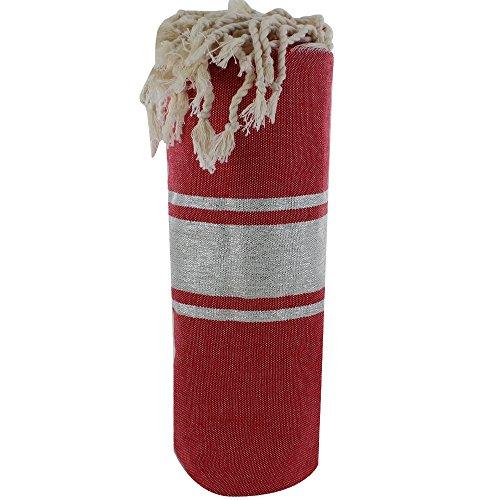 LES POULETTES Fouta Badetuch Dunkelrot Baumwolle und Silber Lurex Streifen 100 x 200cm