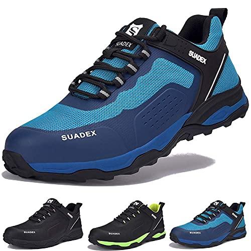SUADEX Zapatos de Seguridad Hombre Mujer Ligero Zapatillas de Seguridad Hombre Trabajo Transpirables Zapatos de Trabajo Puntera de Acero Calzado Antideslizante Industriales,Azul,40EU