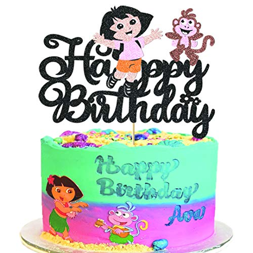 Girls Cake Topper for Girls Birthday Decorations Kids Happy Birthday Cartoon Party Cake Toppers Dora Themed Birthday Party Supplies