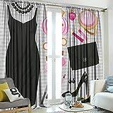 hengshu Heels and Dresses, Blackout Curtains dimout, Black Smart Cocktail Dress Perfume Make Up Clutch Bag, Black Light Pink Light Brown, W84 x L84 Inch,
