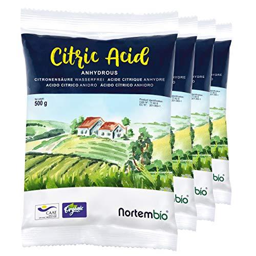 Nortembio Acide Citrique 2 Kg (4x500g). Poudre Anhydre, 100% Pure. pour la Production Biologique. E-Book Inclus.